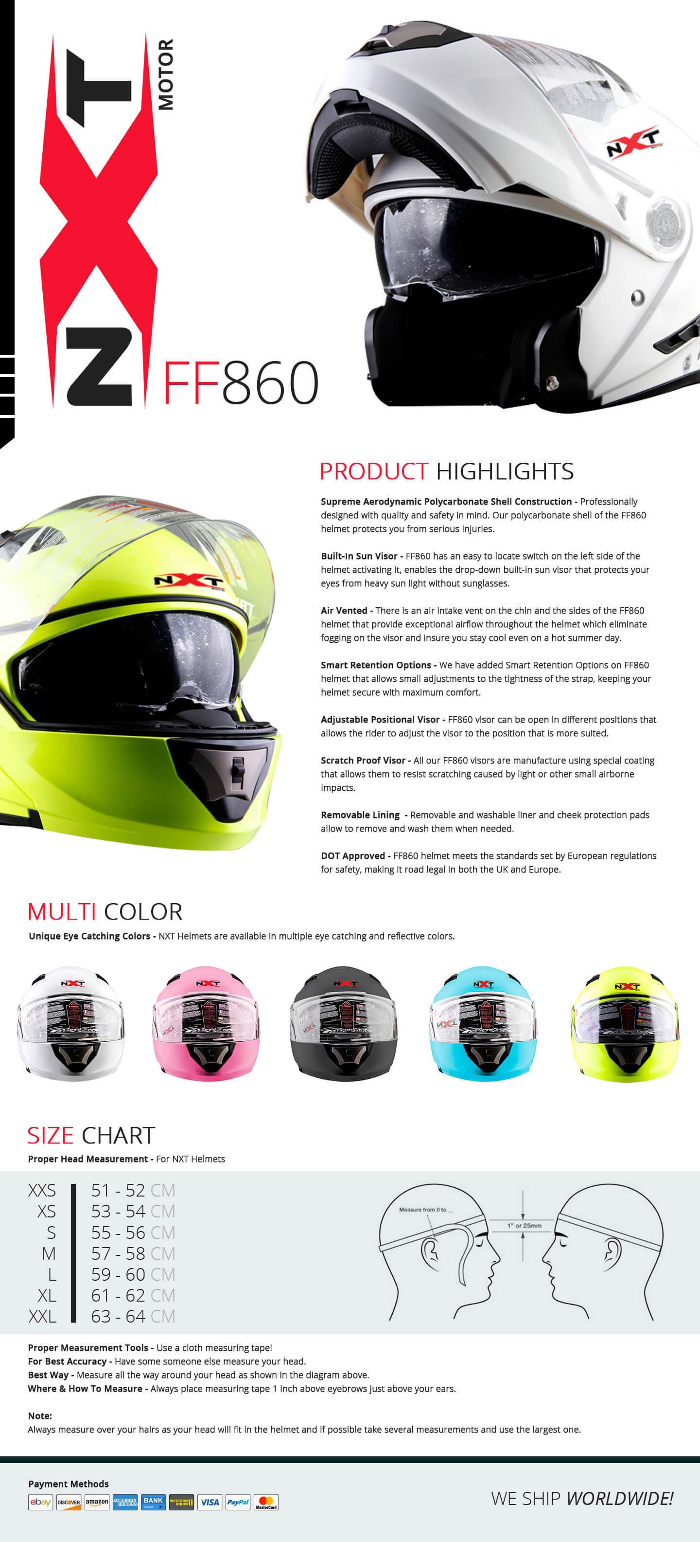 NXT Motor FF860 Flip up Helmet With Visor